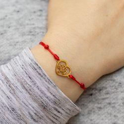 Гривна с червен конец и златно дърво на живота в сърце