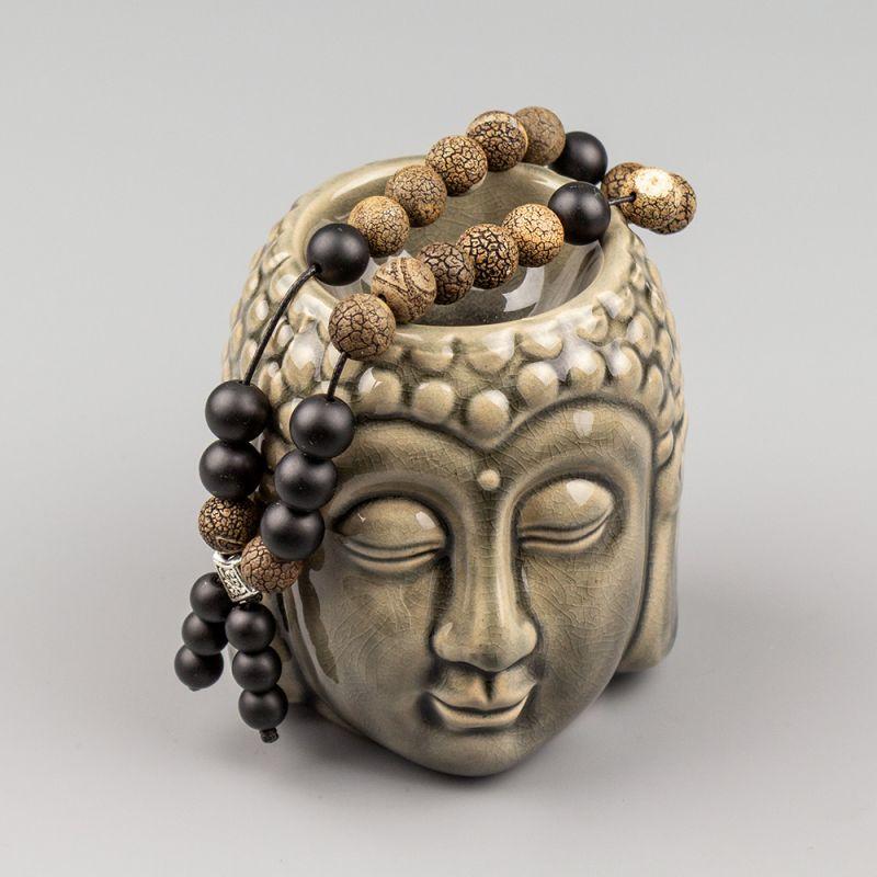 Броеница с мъниста от Тибетски Ахат и Оникс