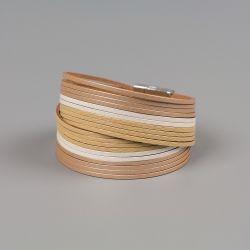 Гривна от естествена кожа Golden strips