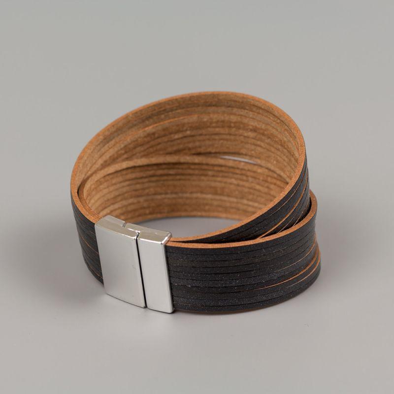 Гривна от естествена кожа Black strips