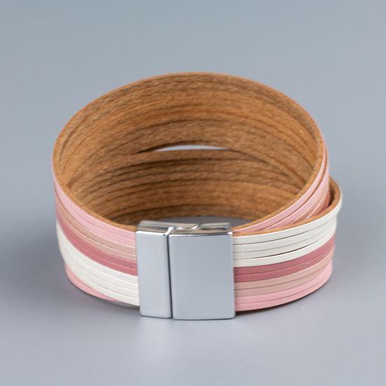 Дамска гривна от естествена кожа Pink strips