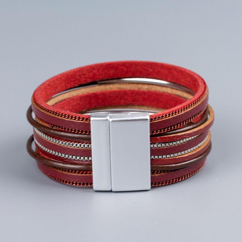 Червена гривна от естествена кожа Red Shimmer