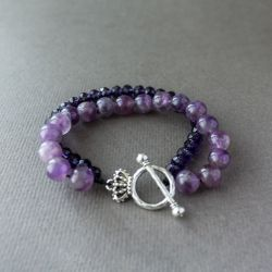"""Дамска гривна - """"Amethyst and Crystals"""""""