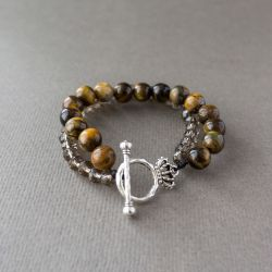 """Дамска гривна - """"Tiger's eye and Crystals"""""""