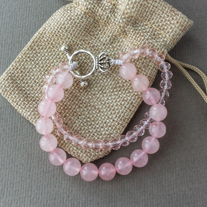 Дамска гривна с кристали и Розов кварц