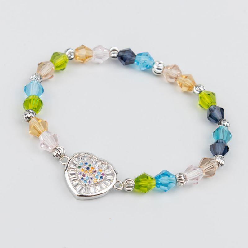 Цветна гривна с кристали и сърце в сребърен цвят