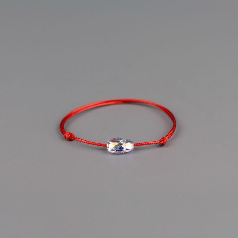 Червен конец с елемент Swarovski Скарабей Aurore Boreale
