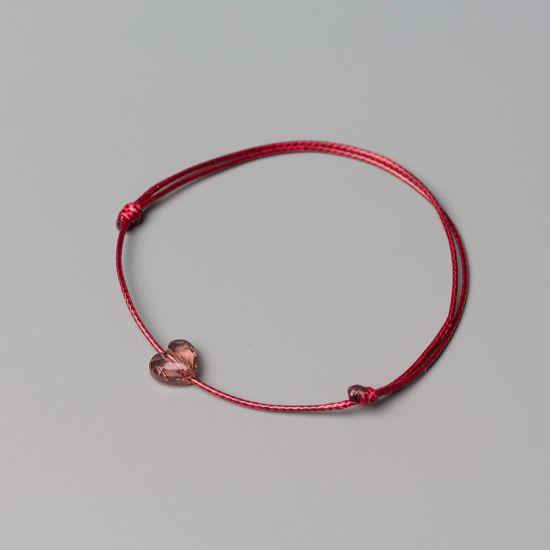 Амулет с елемент Swarovski Сърце Blush Rose и бордо корда