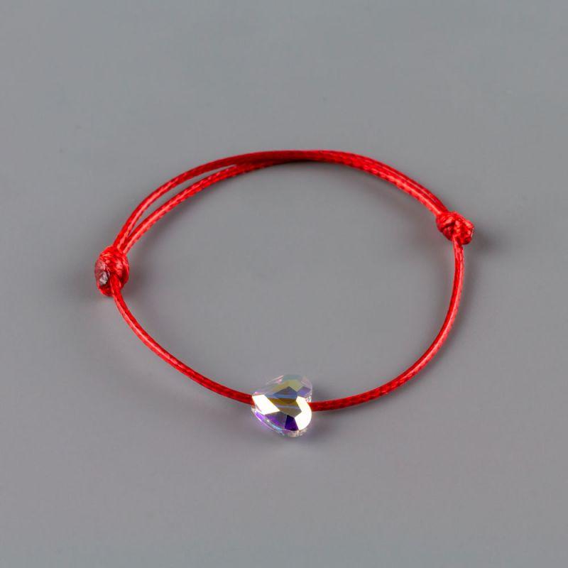 Бебешка гривна с червен конец и бял кристал Сваровски