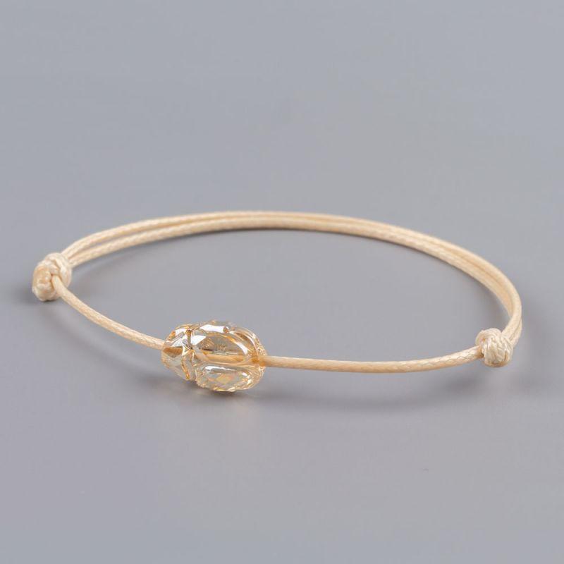 Бежова гривна със златен скарабей кристал Swarovski elements