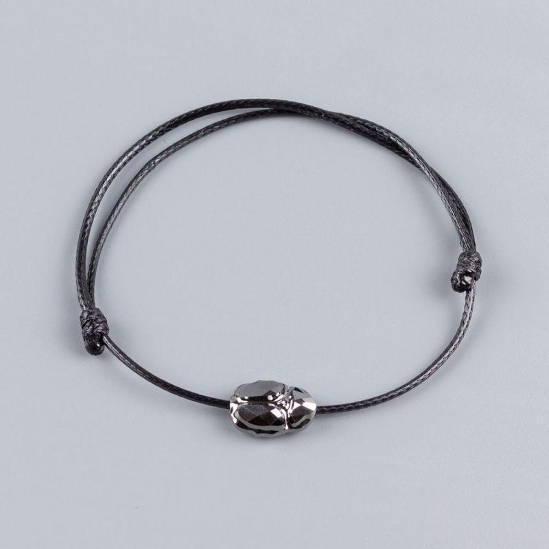 Черна гривна със сребърен скарабей кристал Swarovski elements
