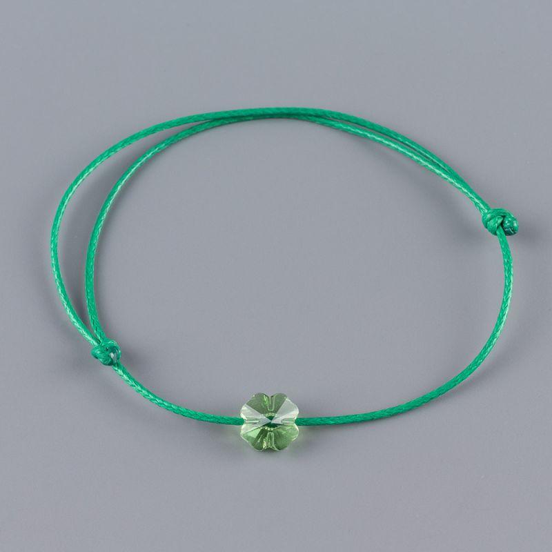 Зелена гривна амулет с детелина кристал Swarovski Peridot