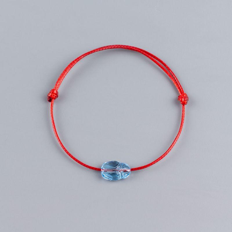 Червена гривна със син скарабей кристал Swarovski elements