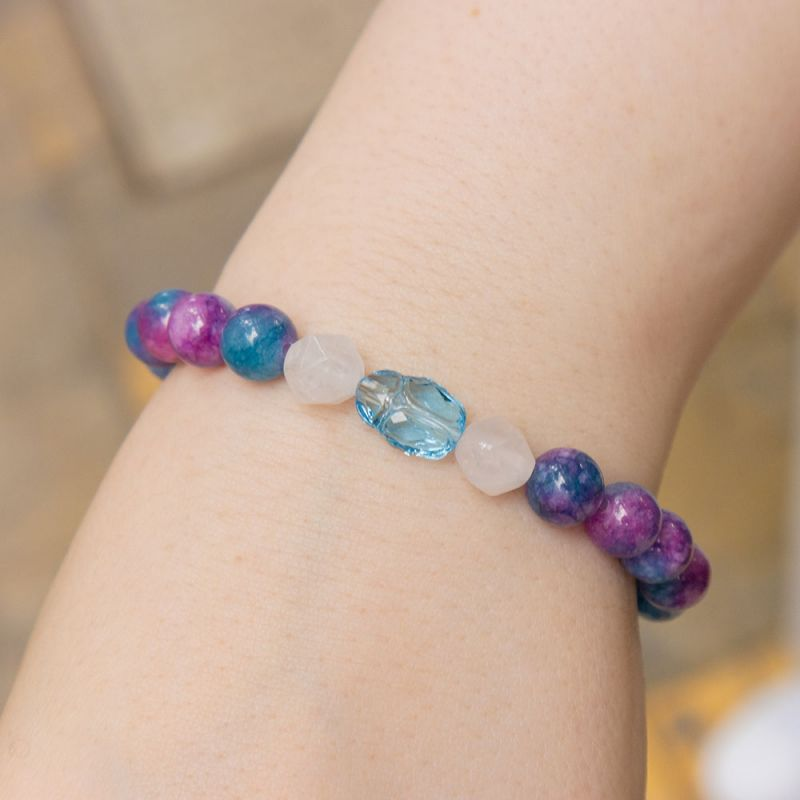 Гривна с кристал Swarovski скарабей и камък Розов кварц