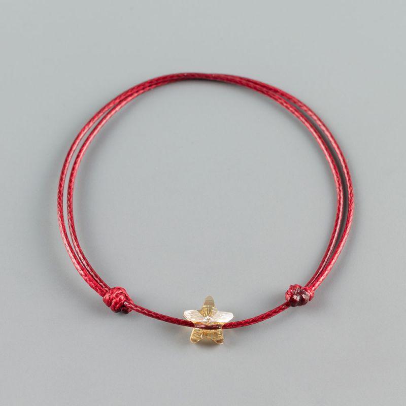 Червена гривна със златна звезда кристал Swarovski
