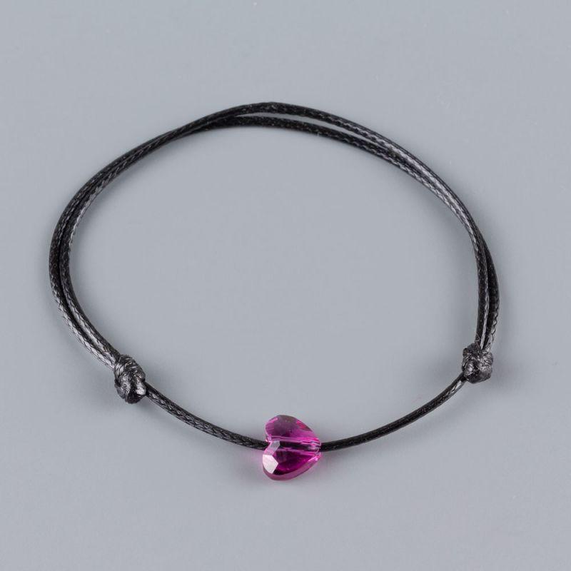 Гривна със сърце кристал Swarovski цвят Fuchsia