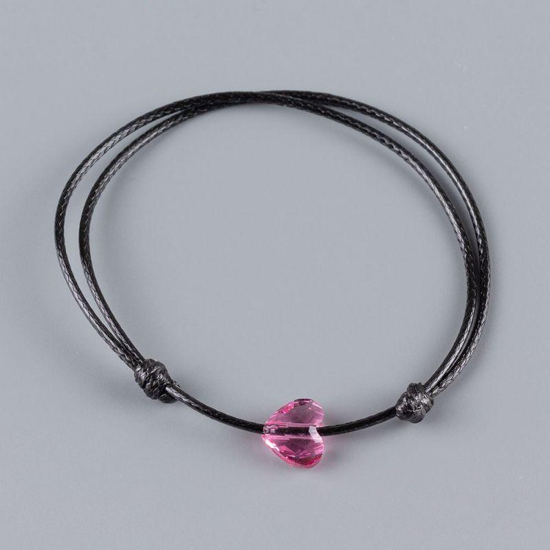 Гривна със сърце кристал Swarovski цвят Rose