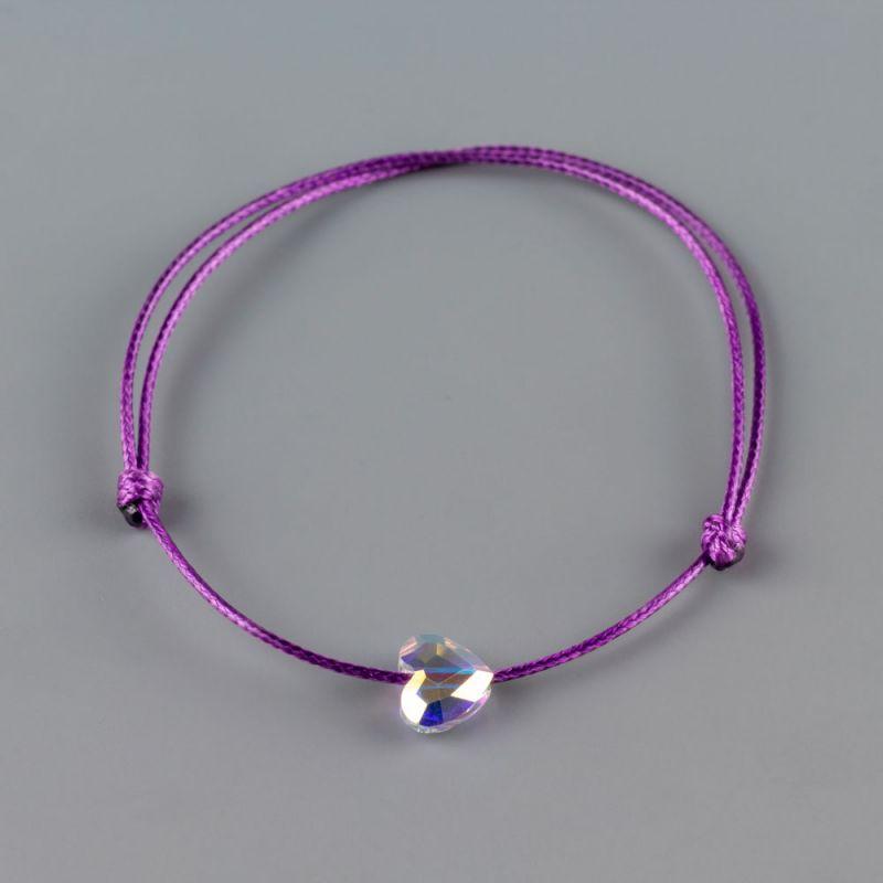 Дамска гривна в лилав цвят със сърце кристал Swarovski