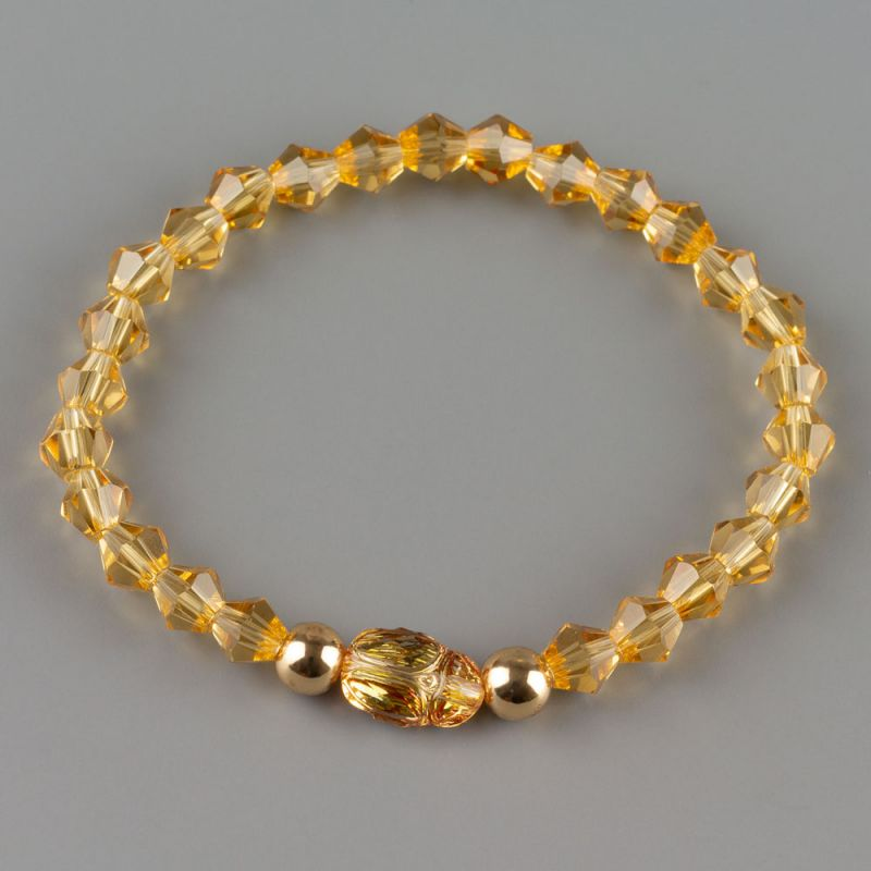 Златиста дамска гривна с кристал скарабей Swarovski