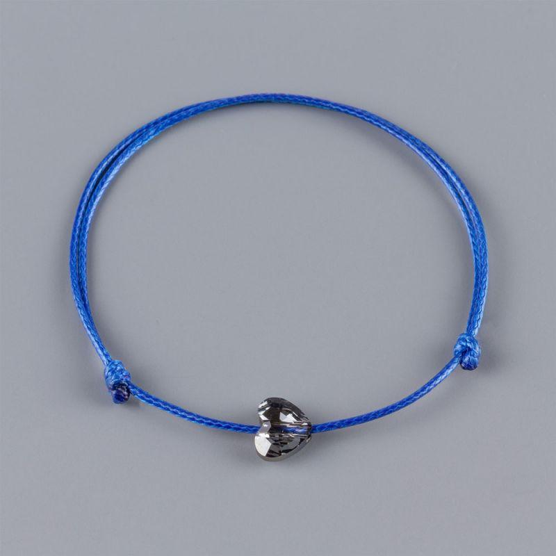 Синя гривна със сърце кристал Swarovski цвят Silver Night