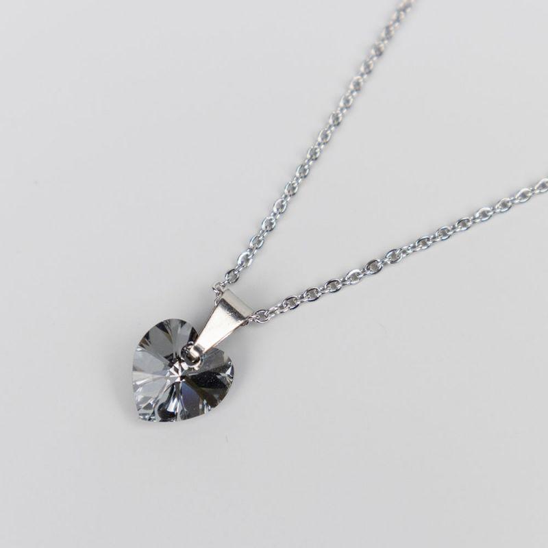 Дамско колие със сърце кристал Swarovski Silver Night