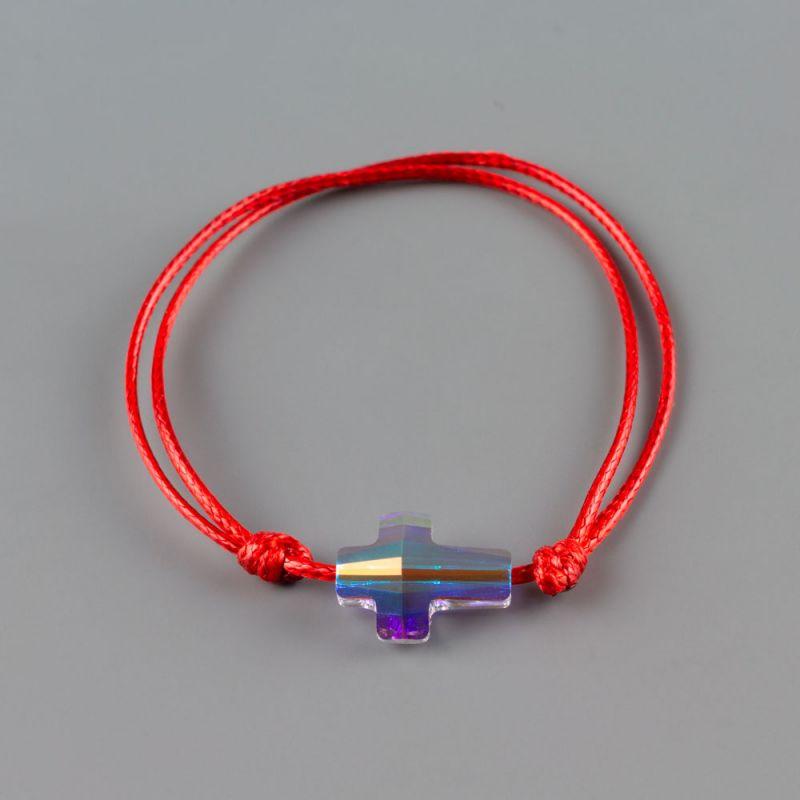 Гривна с червен конец и кръст кристал Swarovski