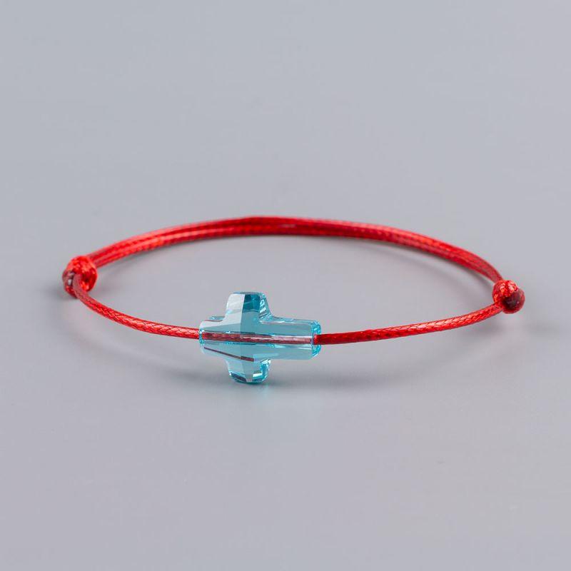 Гривна с червен конец и кръст кристал Swarovski elements