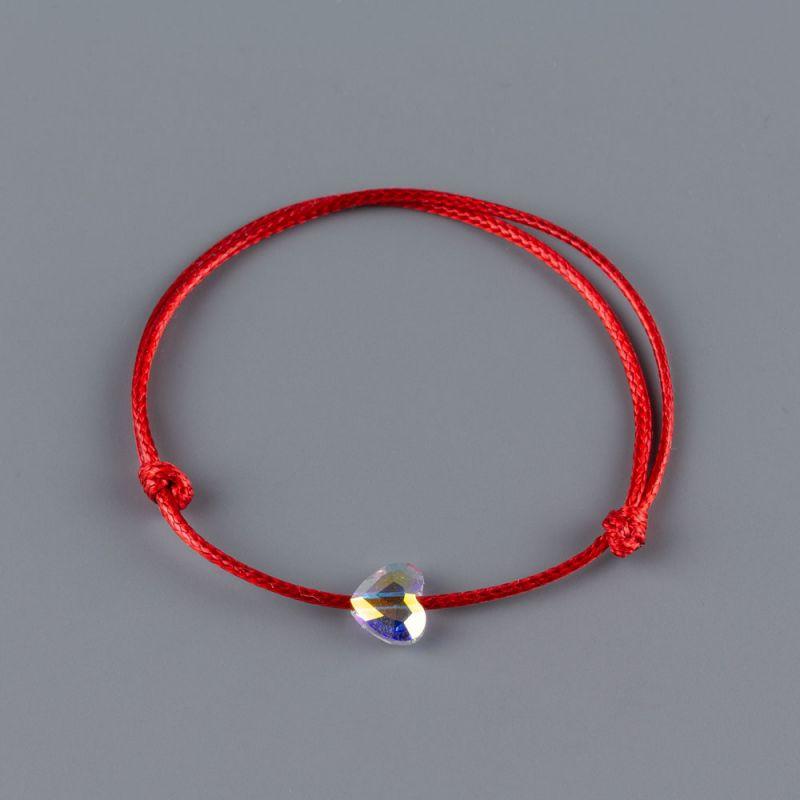 Гривна с червен конец и сърце кристал Swarovski