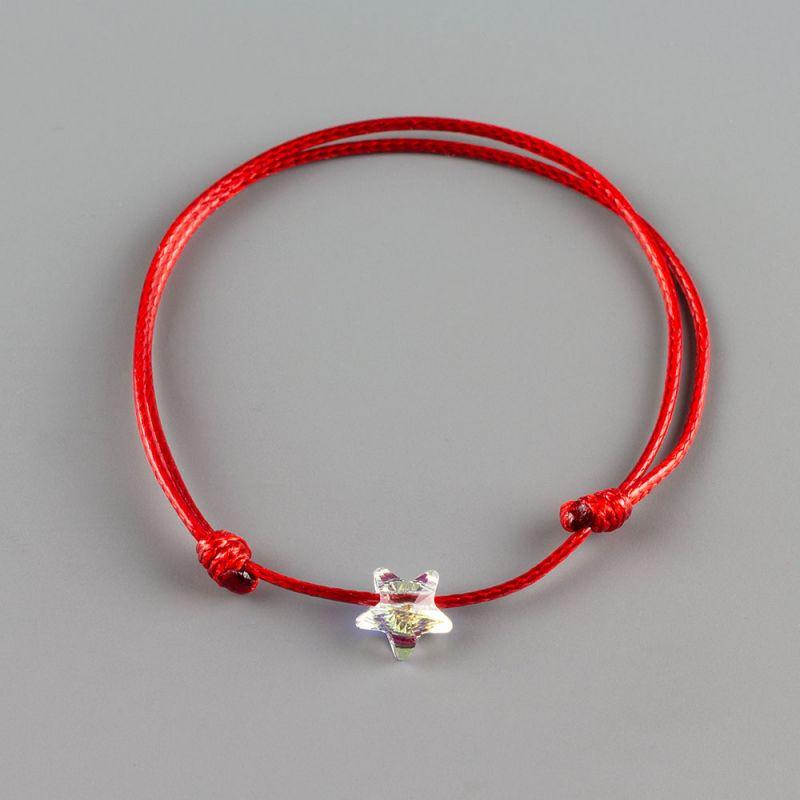 Гривна с червен конец със звезда кристал Swarovski elements