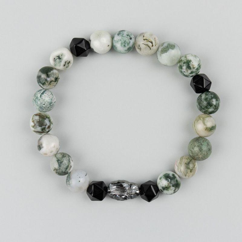 Гривна с кристал Swarovski скарабей и камък Мъхов Ахат