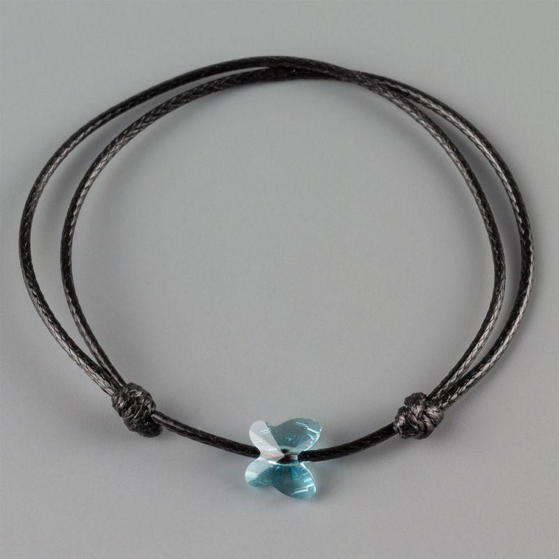 Гривна с пеперуда кристал Swarovski цвят Turquoise и Smoky Mauve