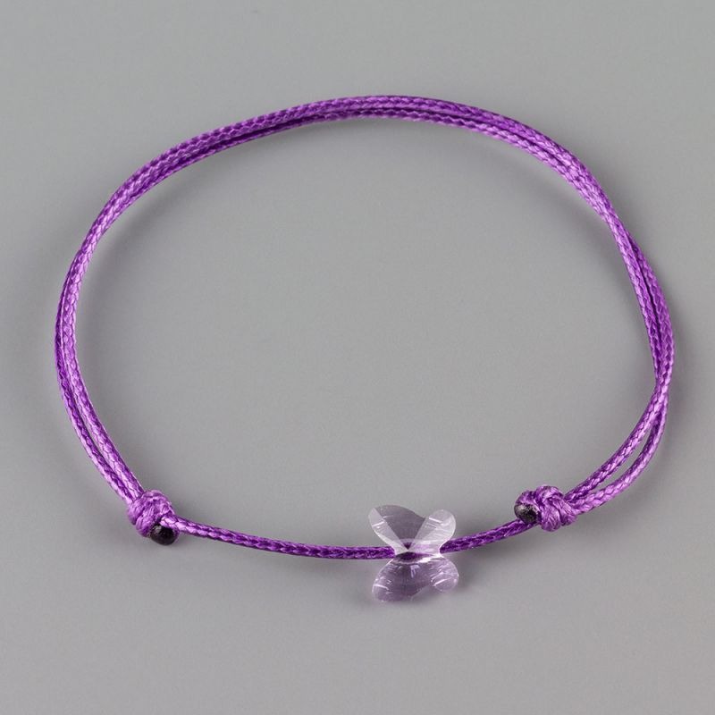 Гривна с пеперуда кристал Swarovski цвят Violet, Aquamarine и Peridot