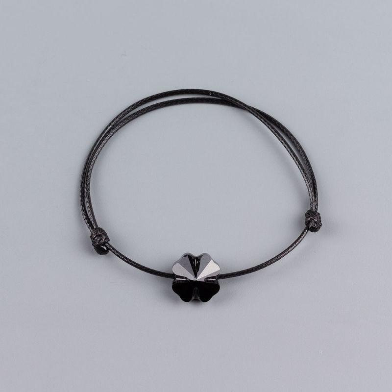 Черна гривна с детелина кристал Swarovski elements