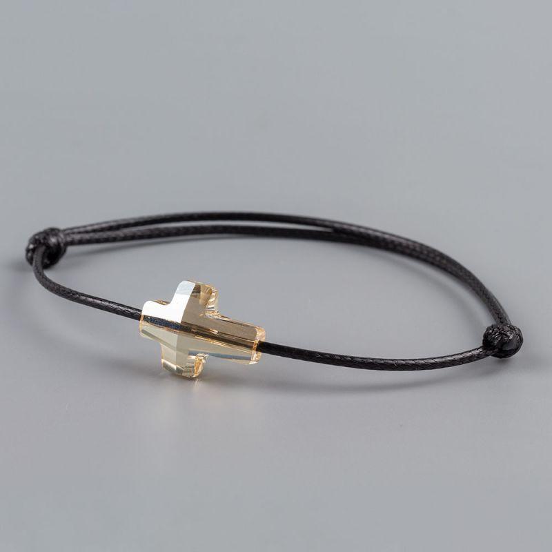 Черна гривна със златист кръст кристал Swarovski elements