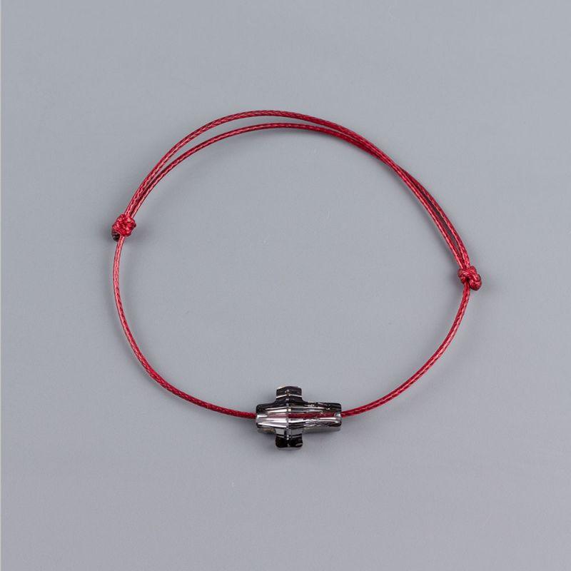 Гривна в цвят бордо и сребрист кръст кристал Swarovski elements