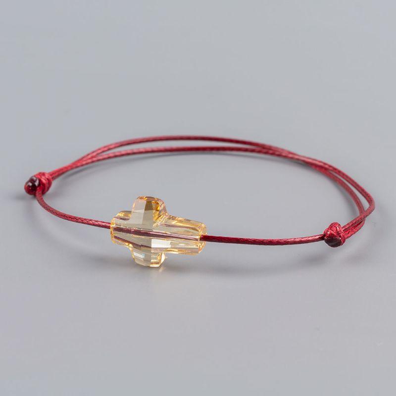 Гривна в цвят бордо със златист кръст кристал Swarovski elements