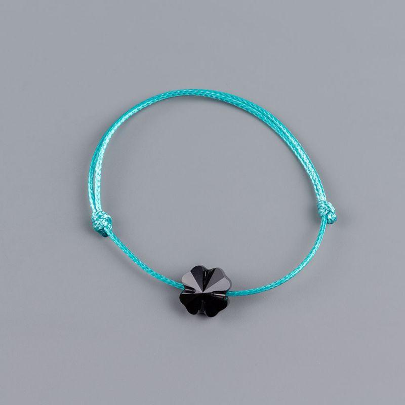 Гривна в цвят тюркоаз с четирилистна детелина кристал Swarovski® elements