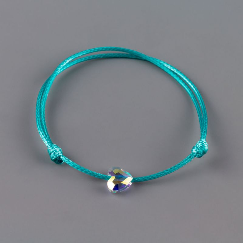 Гривна в цвят тюркоаз със сърце кристал Swarovski