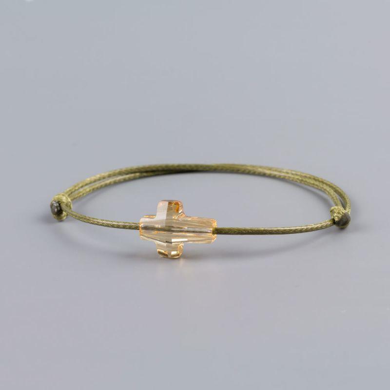 Зелена гривна със златист кръст кристал Swarovski elements