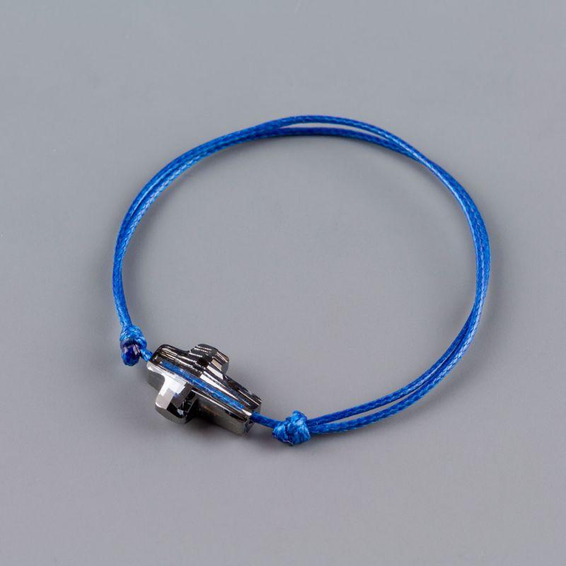 Синя гривна със сребрист кръст кристал Swarovski