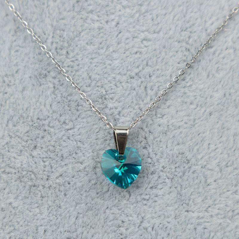 Дамско колие със сърце кристал Swarovski Light Turquoise