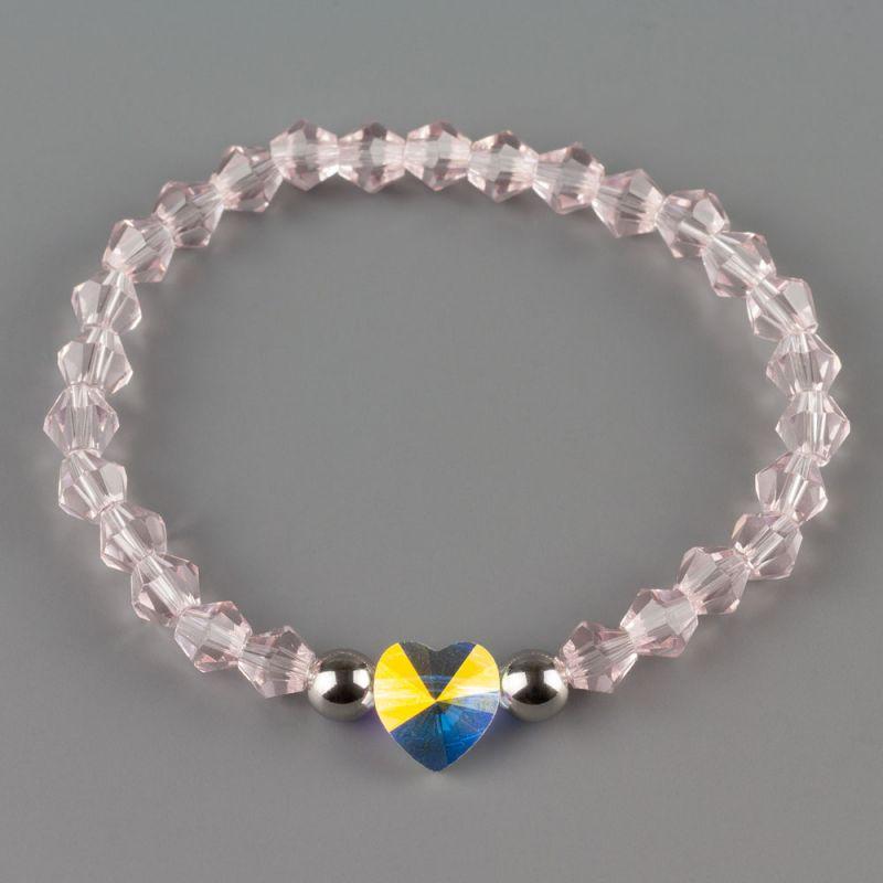 Дамска гривна в розово със сърце кристал Swarovski