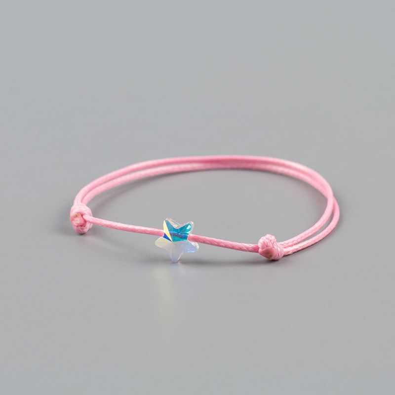Розова гривна с бяла звезда кристал Swarovski