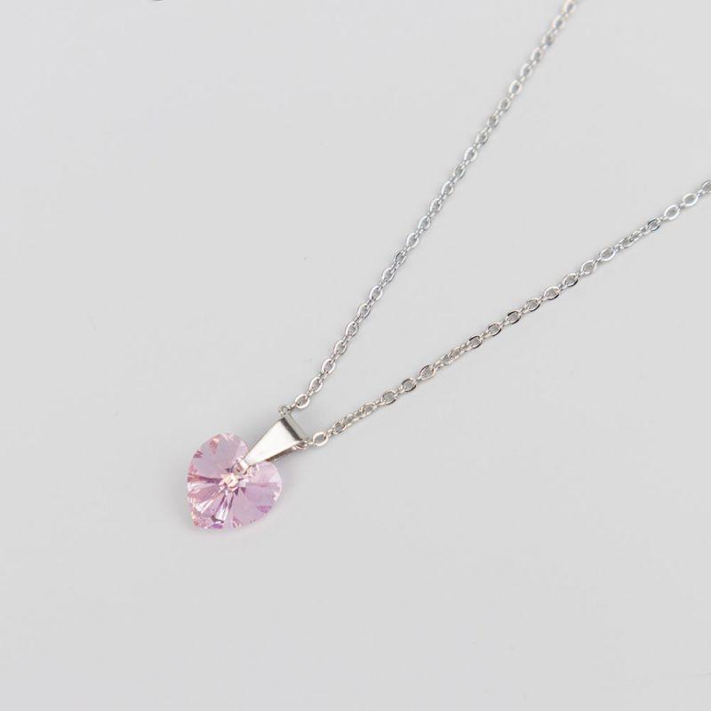 Розово колие с кристал Swarovski сърце Light Rose