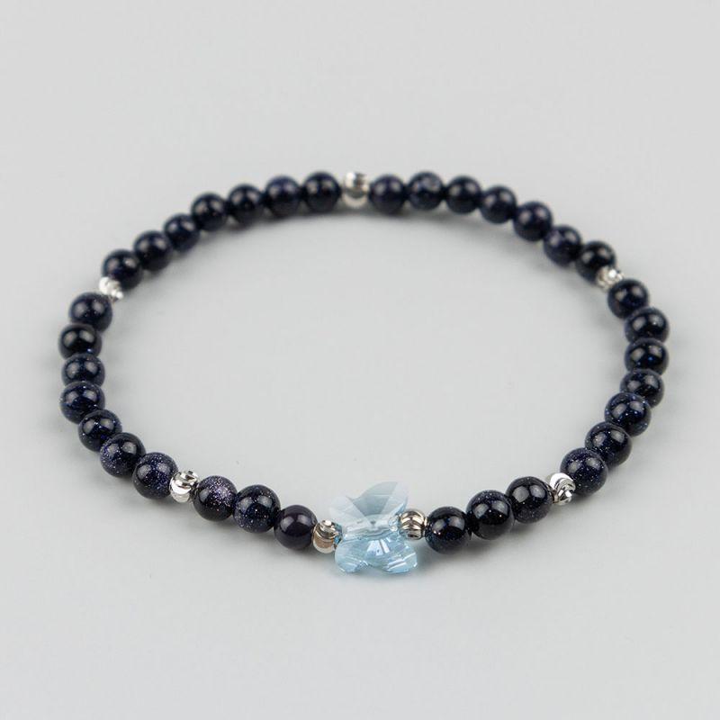 Синя гривна с пеперуда Swarovski и камък Авантюрин