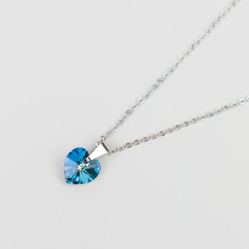 Синьо колие с кристал Swarovski сърце Bermuda Blue