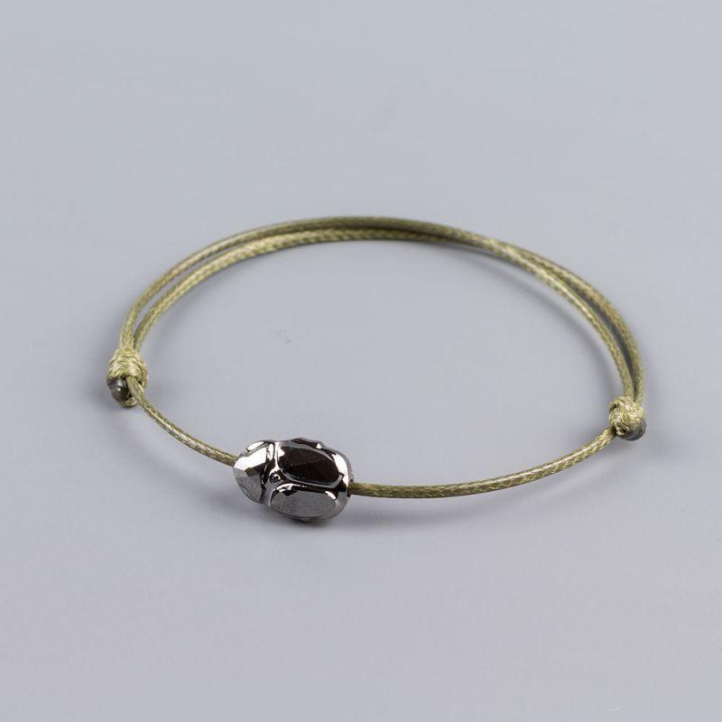 Гривна в цвят каки със скарабей кристал Swarovski elements