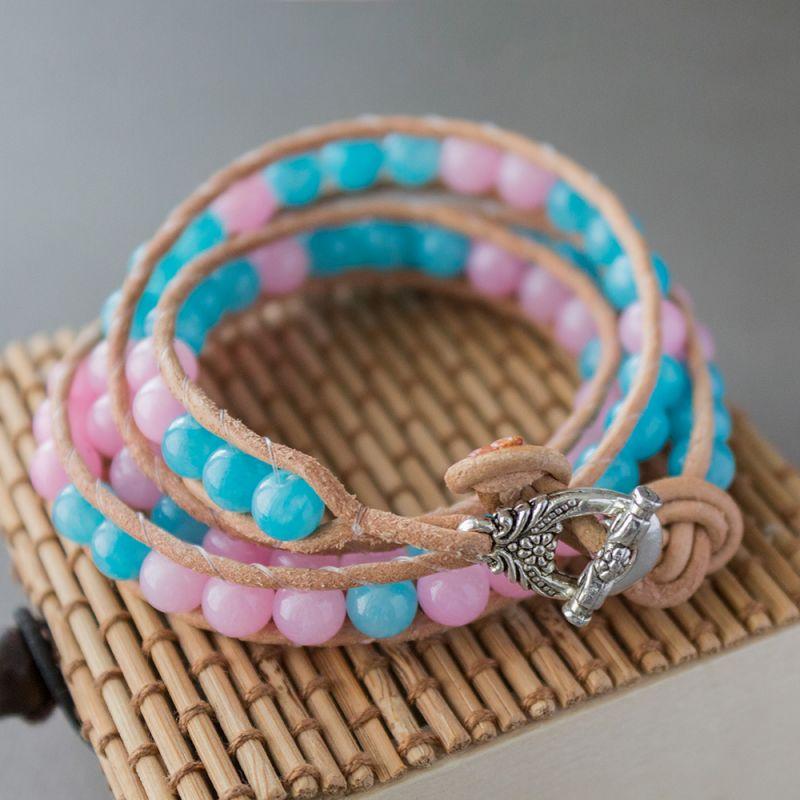 """Дамска увивна гривна - """"Pink and Blue Jade"""""""