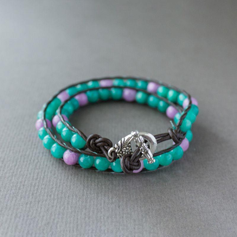 """Дамска увивна гривна - """"Cyan and Purple Jade"""""""