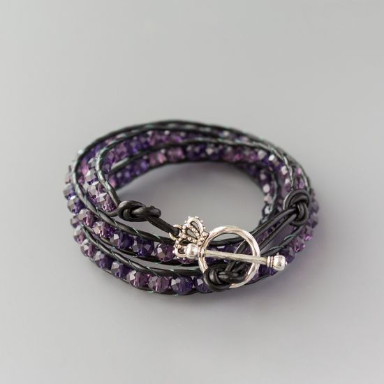 """Дамска увивна гривна - """"Purple Crystal Triple"""""""